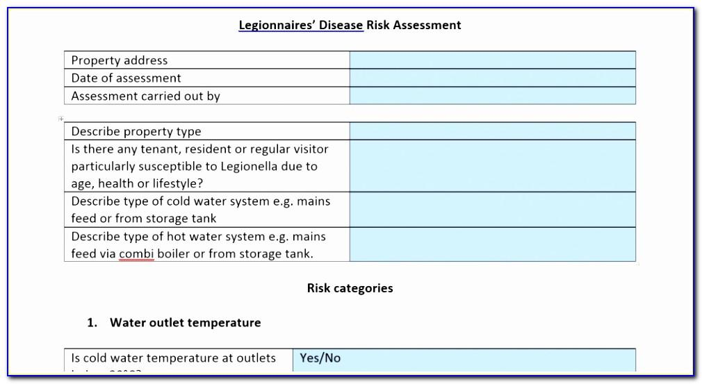 Legionella Risk Assessment Template Word