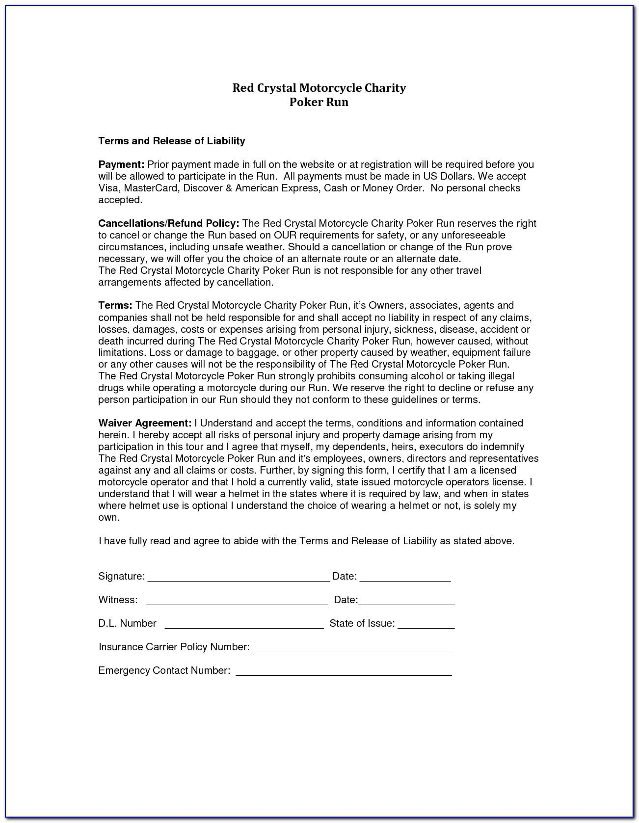 Liability Waiver Release Form Printable