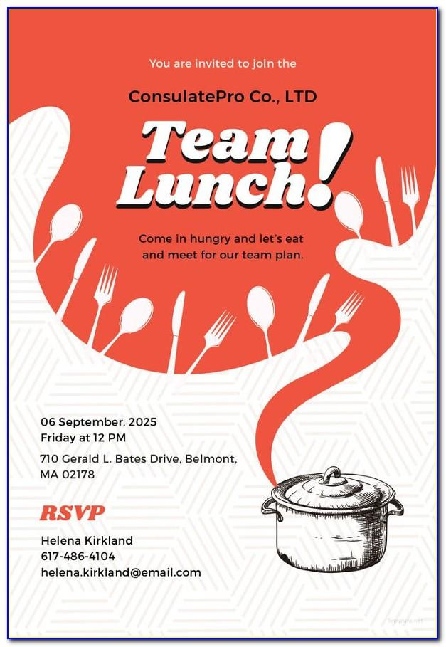 Lunch Meeting Invitation Email Template