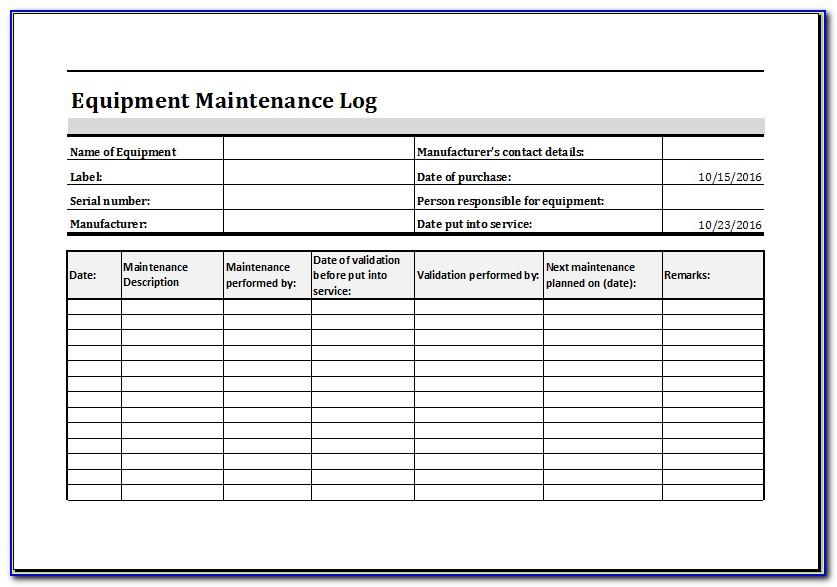 Machine Preventive Maintenance Schedule Template Excel