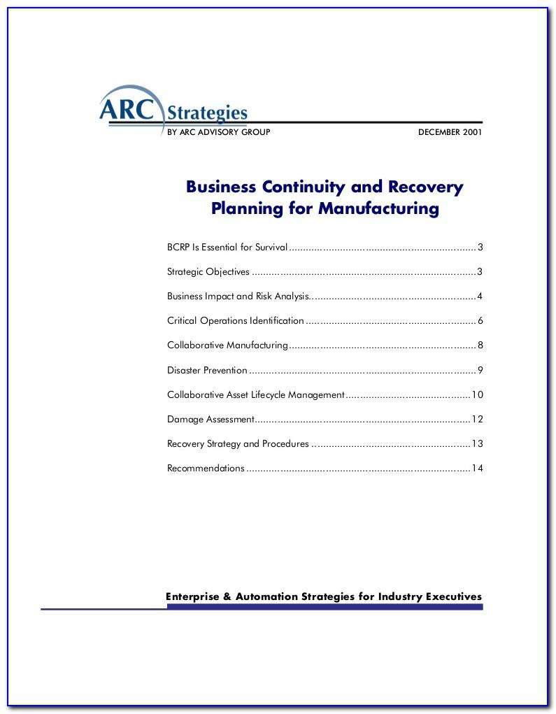 Manufacturing Disaster Recovery Plan Example