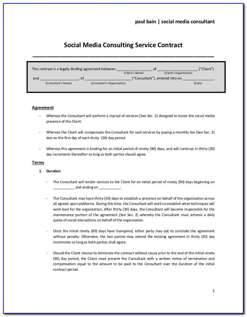 Marketing Consultant Contract Example