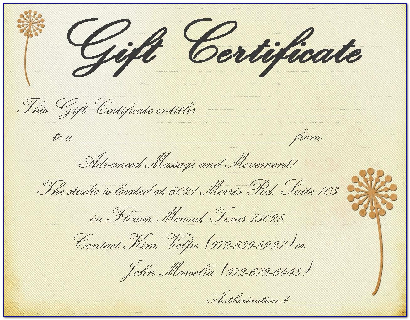 Massage Certificates Templates Free