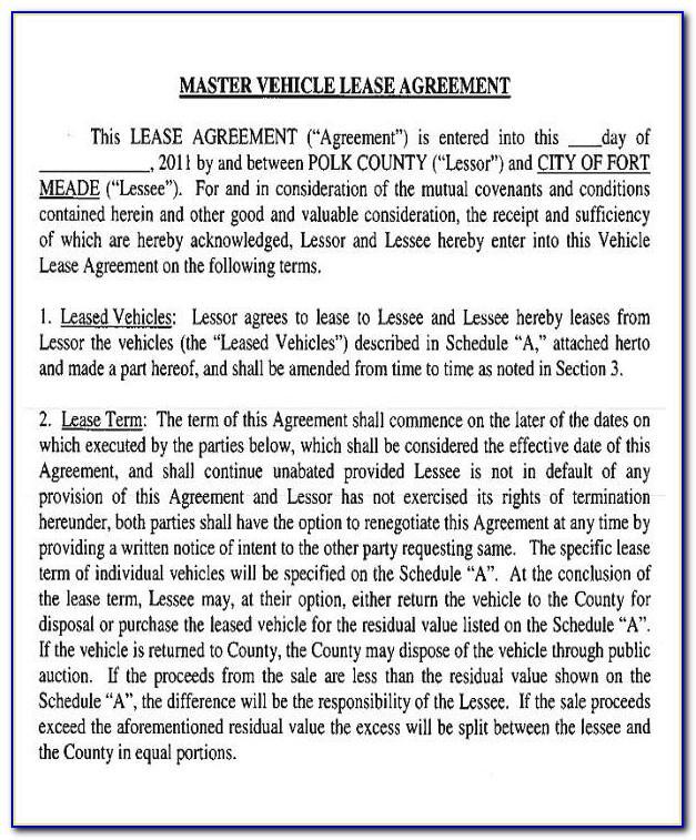 Master Rental Agreement Template