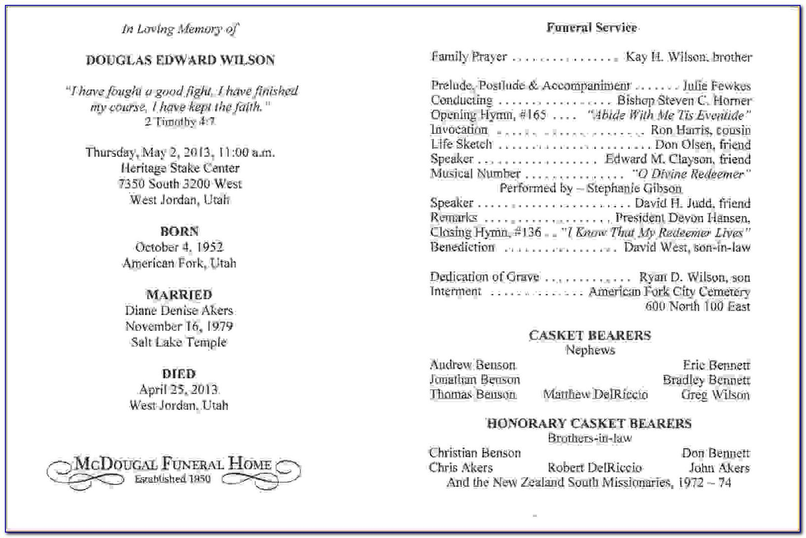 Memorial Mass Program Templatememorial Mass Program Template