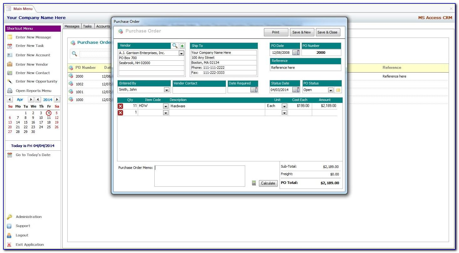 Microsoft Access Invoice Database Template Free Download