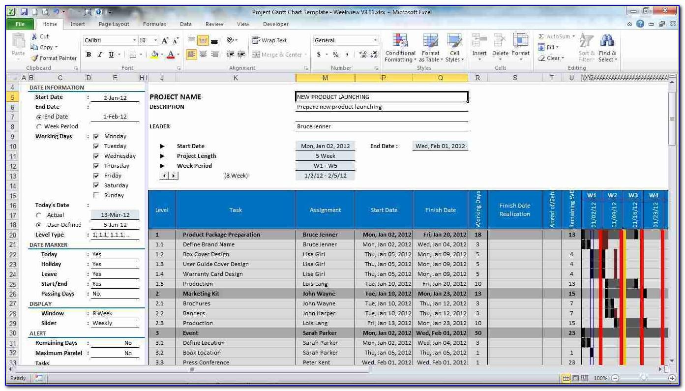 Microsoft Project Management Excel Templates
