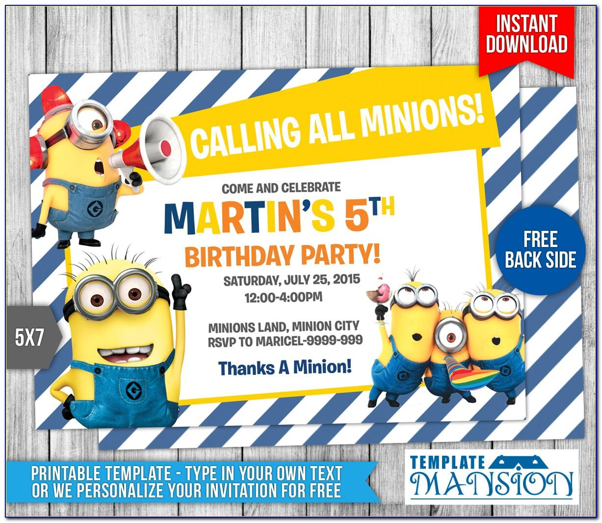 Minion Birthday Party Invitations Templates Free