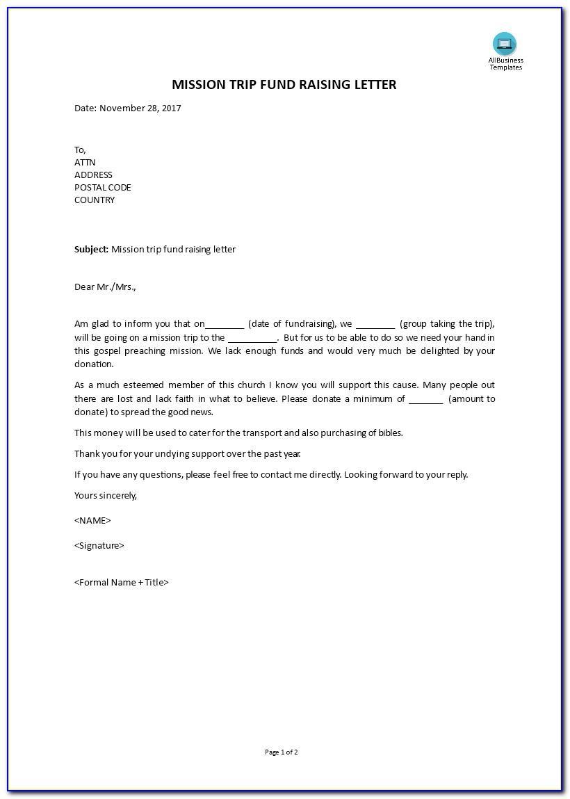 Mission Trip Fundraiser Letter Sample