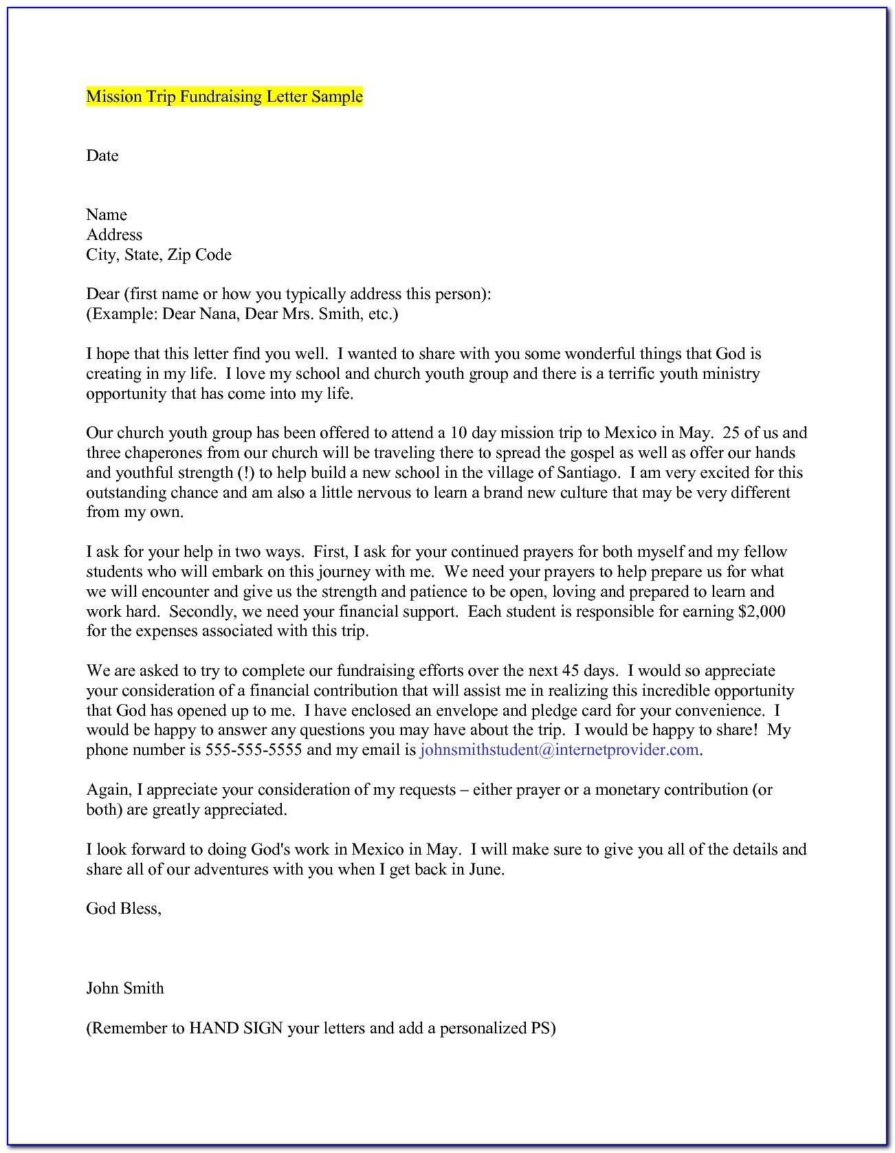 Mission Trip Fundraising Letter Example