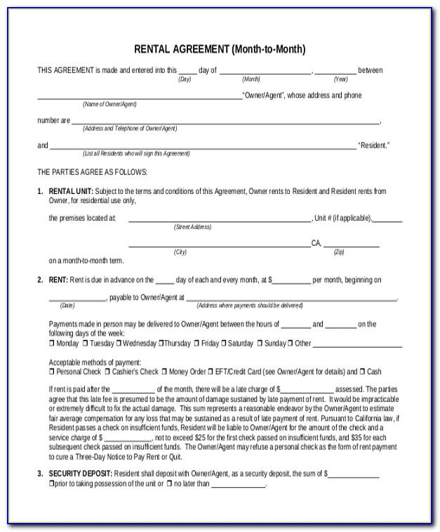 Month To Month Rental Agreement Template California