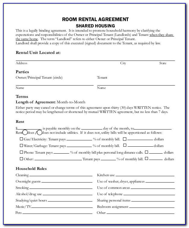 Month To Month Rental Agreement Template Free