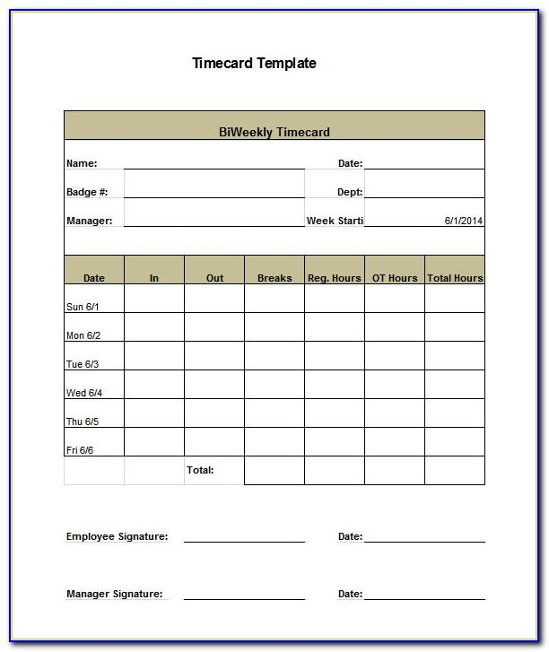 Monthly Employee Timesheet Template Excel