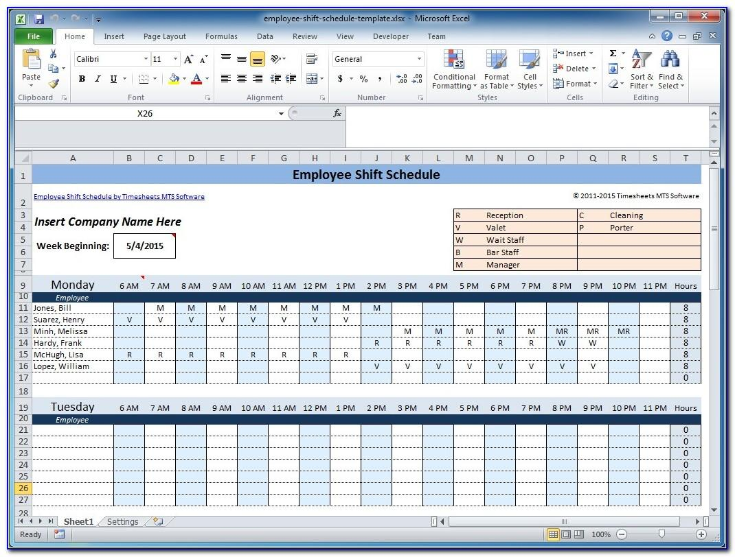 Monthly Work Schedule Template Free