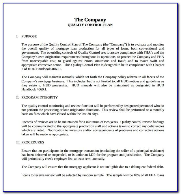 Mortgage Quality Control Plan Template