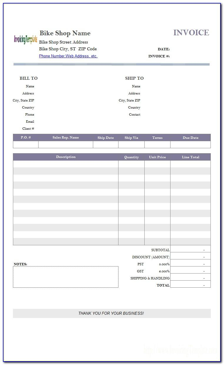 Motorcycle Invoice Template