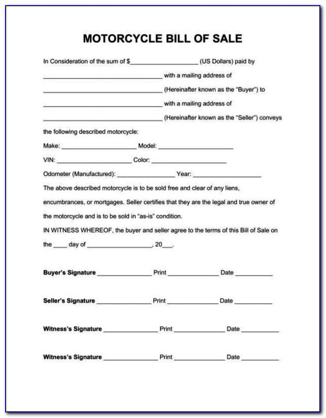 Motorcycle Purchase Agreement Template