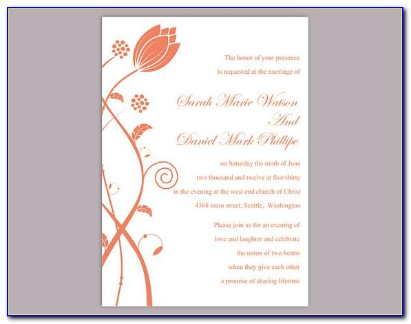 Ms Word Wedding Invitation Templates Free Download