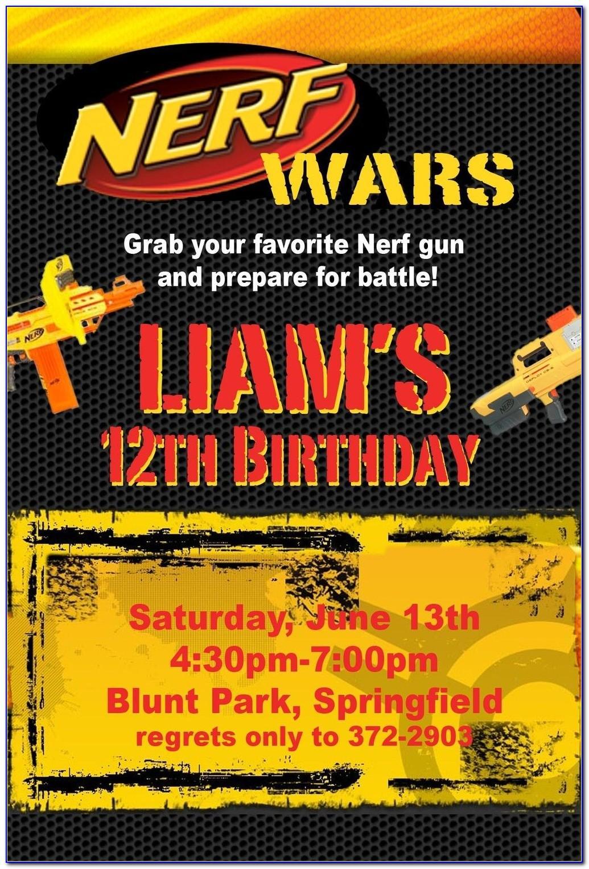 Nerf Birthday Party Invitation Template