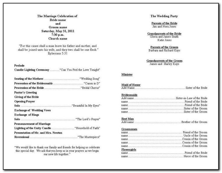 Non Religious Wedding Ceremony Program Template