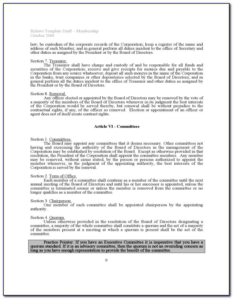 Nonprofit Board Bylaws Template