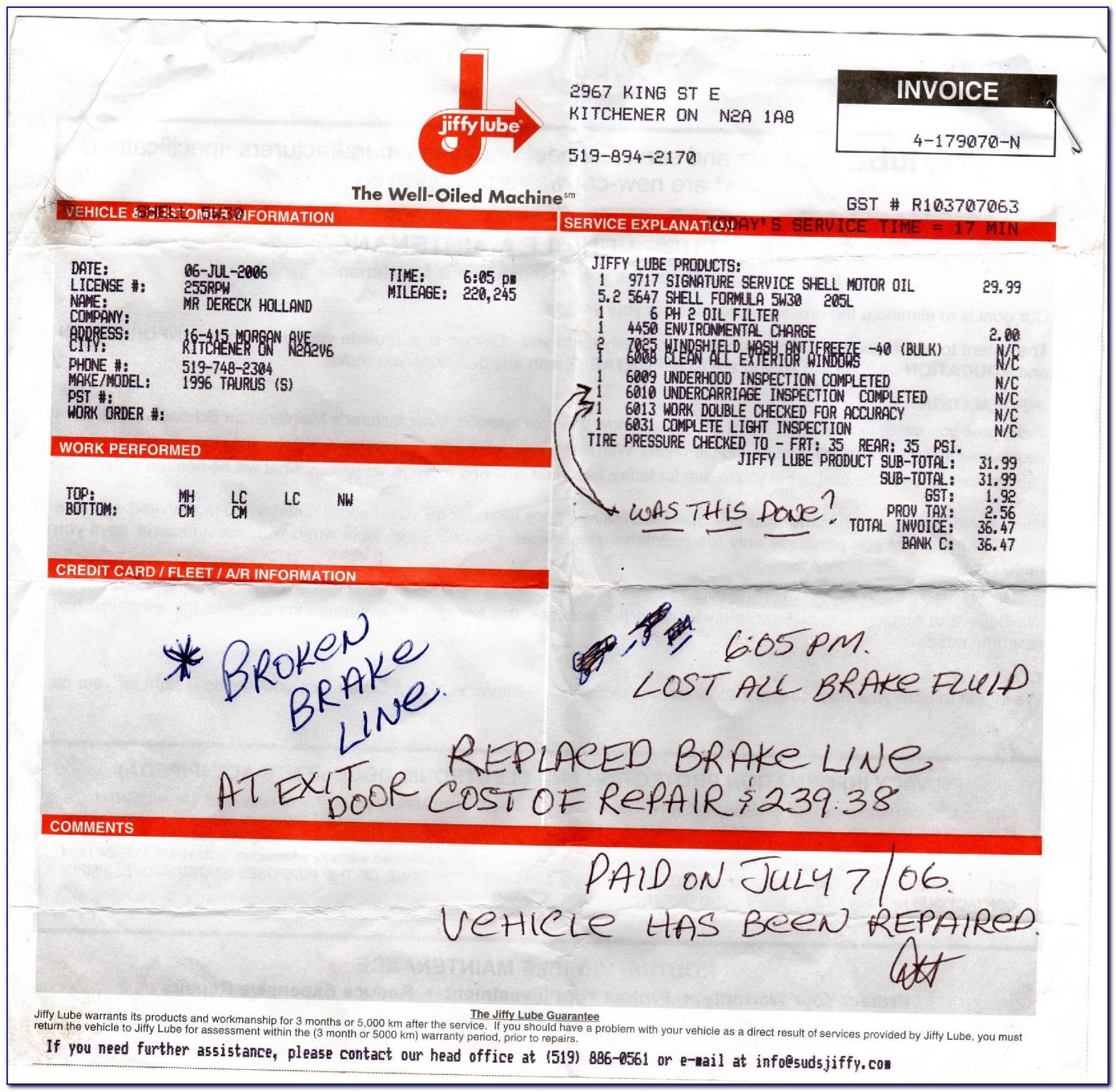 Oil Change Invoice Example
