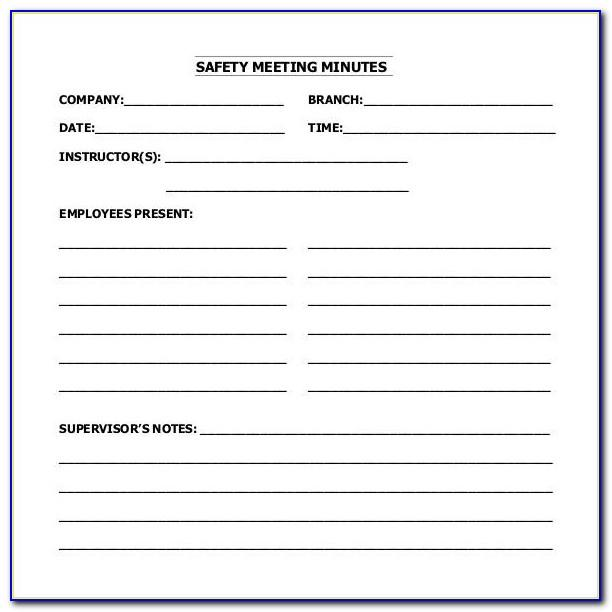 Osha Safety Meeting Minutes Template