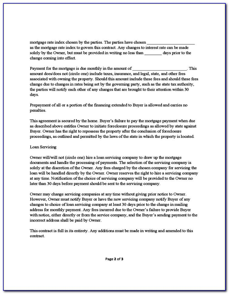 Owner Finance Contract Template Texas Free