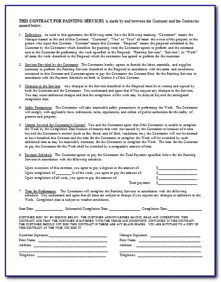 Painting Contract Template Pdf