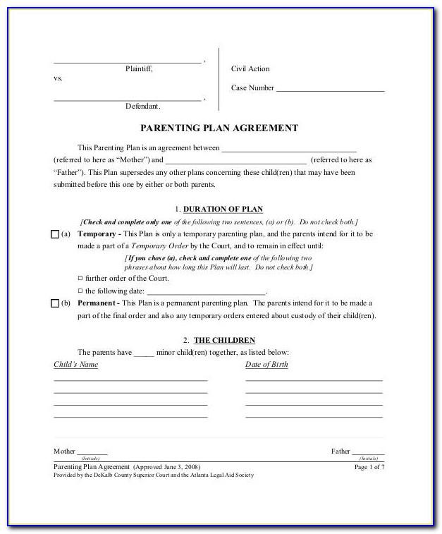Parental Agreement Template Ontario