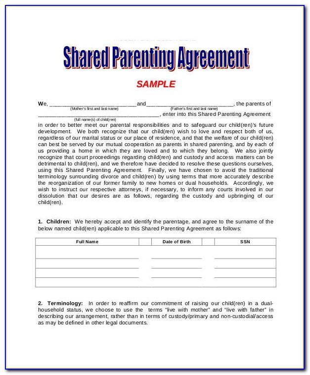 Parental Agreement Template Uk