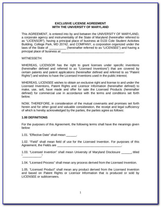 Patent Cross License Agreement Template
