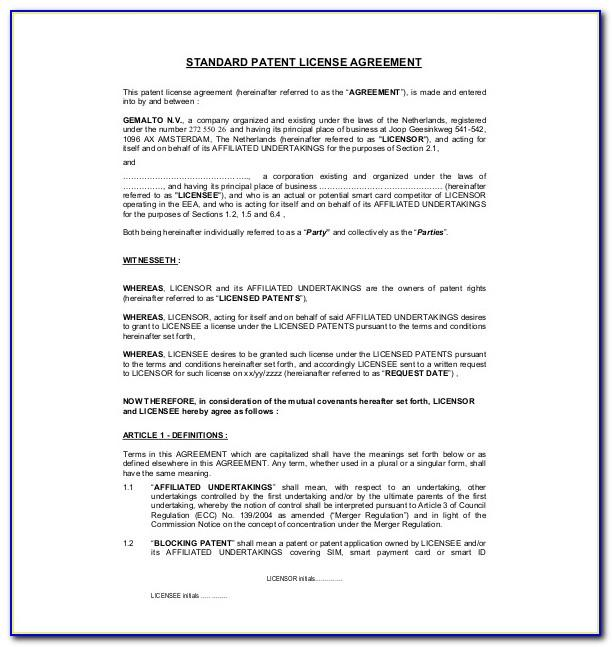 Patent License Agreement Template Doc
