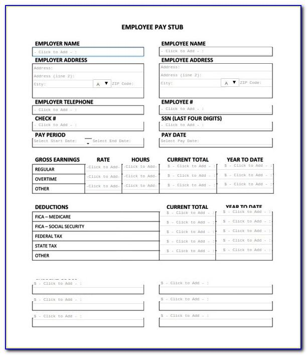 Pay Stub Templates Excel