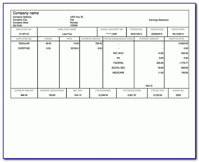 Paycheck Stub Templates For Microsoft Word