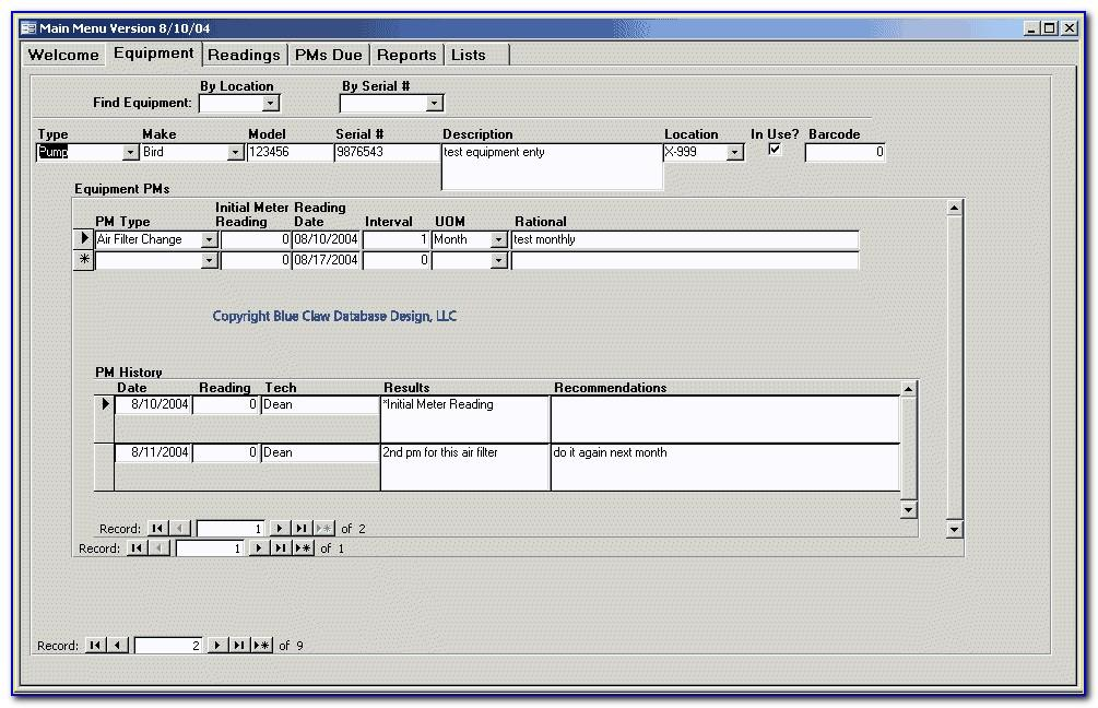 Preventive Maintenance (pm) Access Database Template