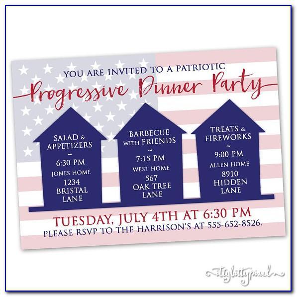 Progressive Dinner Party Invitation Wording