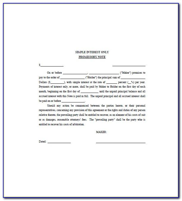 Promissory Notes Templates Personal Loans