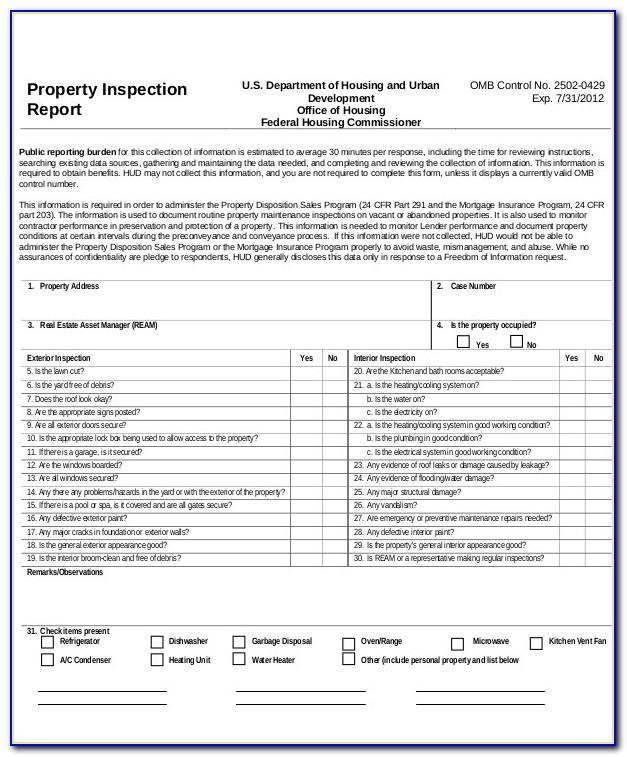 Property Inspection Report Template Word