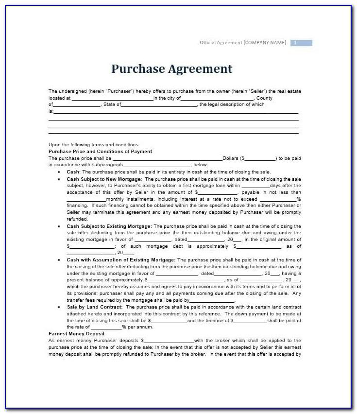 Purchase Contract Template Free Real Estate