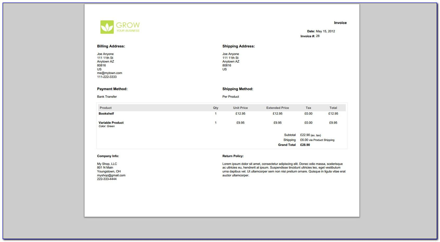Quickbooks Online Invoice Template Download