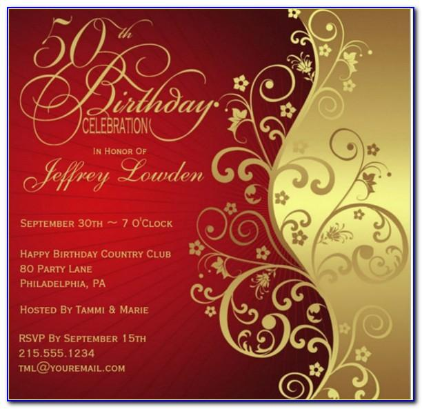 Red And Gold Blank Invitation Template