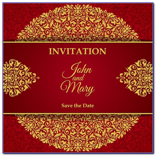 Red And Gold Wedding Invitation Templates