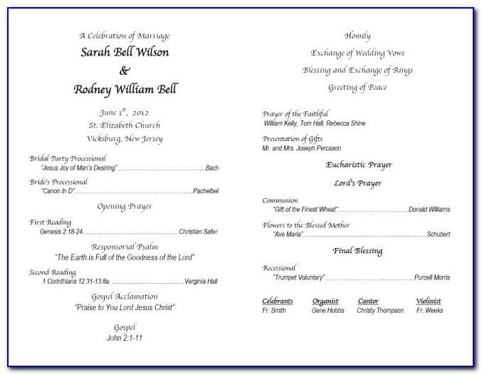 Religious Wedding Ceremony Program Template