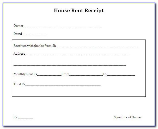 Rent Receipts Template Pdf