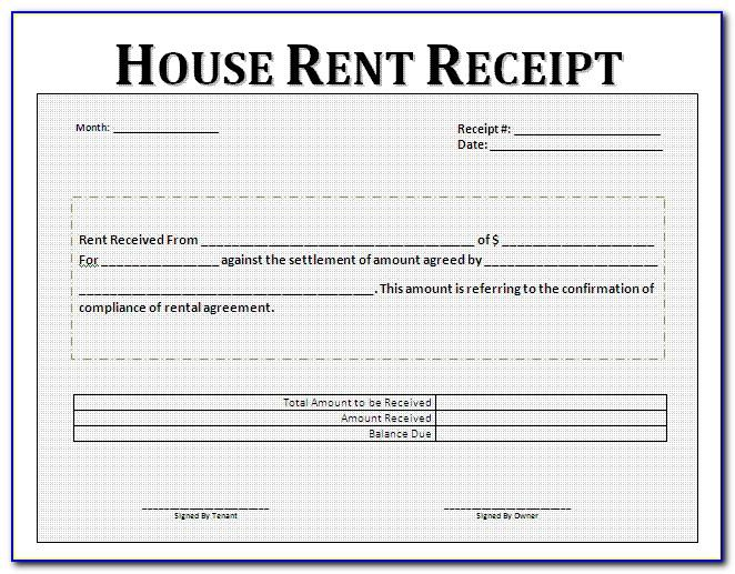 Rent Receipts Templates Uk