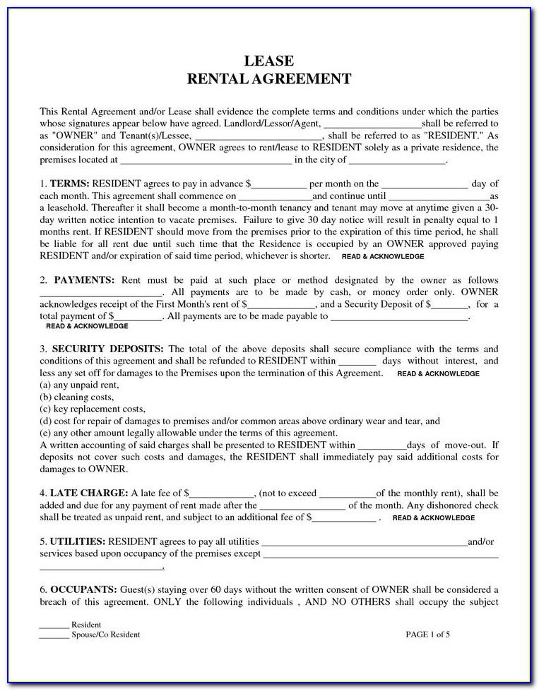 Rental Lease Template Printable