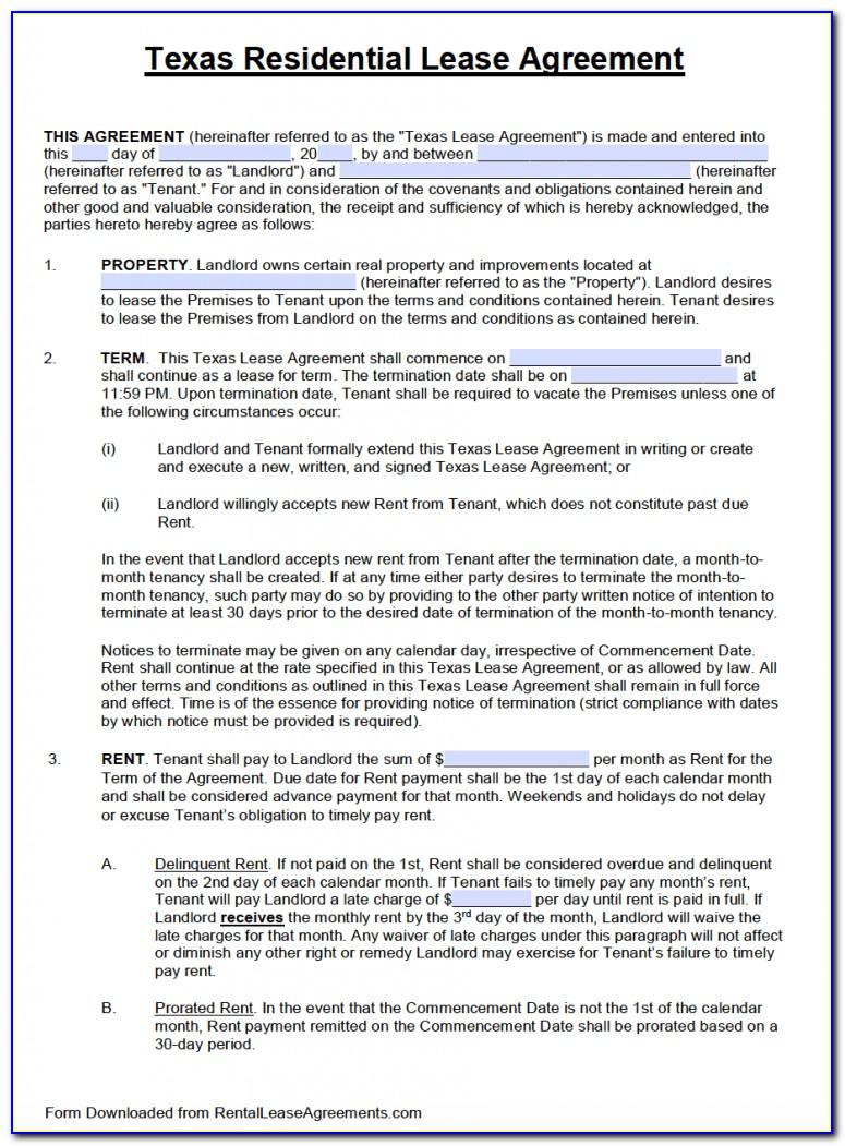 Residential Lease Agreement Template Doc