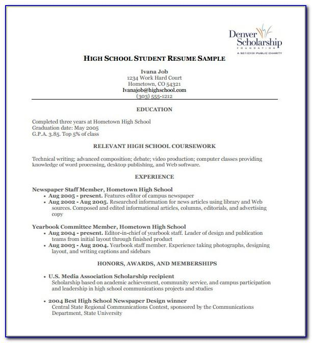 Free Resume Template For High School Student With No Work ...