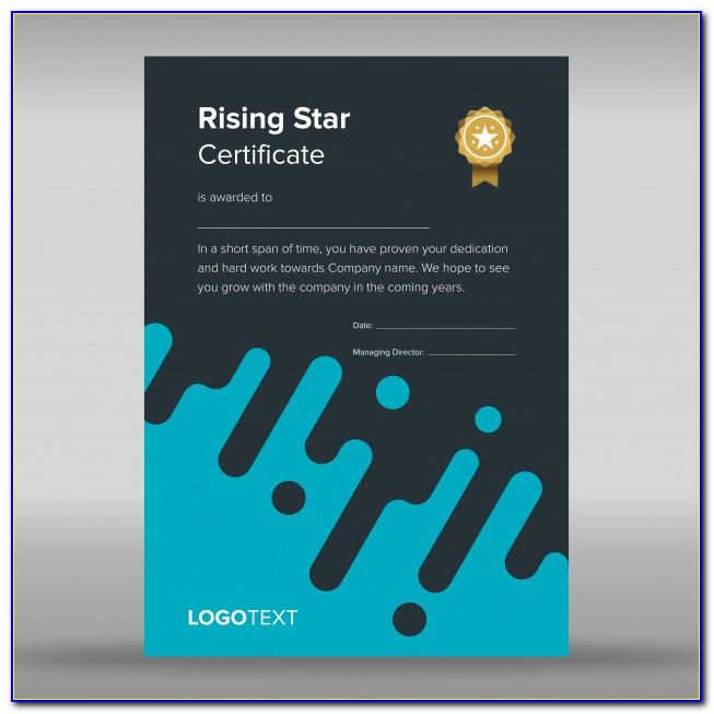 Rising Star Award Certificate Template